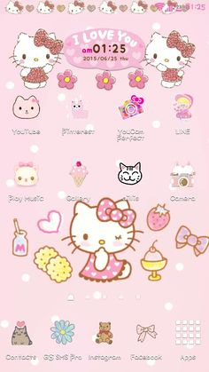 Hello Kitty is ♡ Costumized using Cocoppa and Color Status Bar Kitty Wallpaper, Asdf, My Melody, Sanrio, Hello Kitty, Doodles, Beer, Wallpapers, Facebook