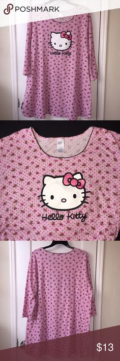 Hello Kitty Pajama Wore this once, I prefer pajamas with pants or shorts. Washed & ready to wear. Pet & Smoke free home. 100% Cotton. Label states label as 1x/2x ‼️Sale ends 1/4/17 9pm pacific standard time‼️ Hello Kitty Intimates & Sleepwear Pajamas