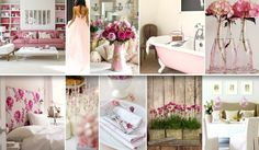 Bottom middle picture Peony and Sage Candy Spot & Faded Pink Roses. Moodboard compiled by Maison by Design