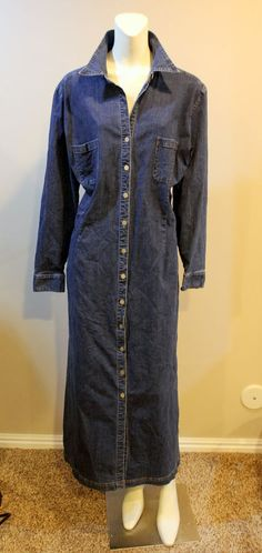 EDDIE BAUER Denim Shirt Maxi Dress XXL Long Sleeve
