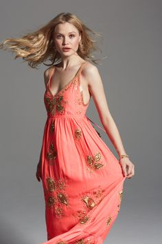 Coral embellished maxi dress. Share the Love! Shop with a friend and you both will enjoy $50 off your purchase of $200+!