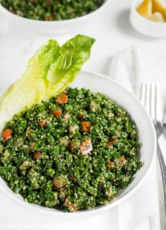 A delicious, easy and healthy recipe for an authentic Lebanese Tabbouleh salad. Serve it alone as a light meal or as a side dish with grilled meats. Healthy Side Dishes, Good Healthy Recipes, Side Dish Recipes, New Recipes, Salad Recipes, Healthy Snacks, Vegan Recipes, Healthy Eating, Rice Recipes