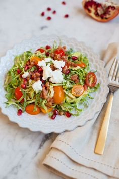 Shaved Brussel Sprout Salad with Warm Pancetta Vinaigrette /