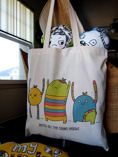 """my buddles canvas tote bag  """"we're all the same height"""""""