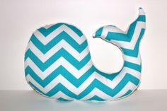 Modern baby Chevron WHALE pillow - nautical nursery decor turquoise white plushie - shower gift for new mom. $28.00, via Etsy.