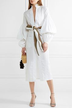 Johanna Ortiz | Palomino belted stretch-cotton poplin midi dress | NET-A-PORTER.COM