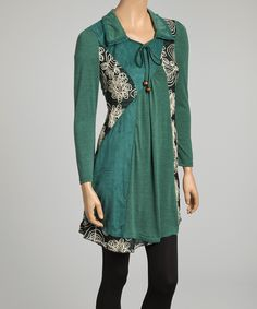 Teal Green & Crème Floral Embroidered Linen-Blend Tunic