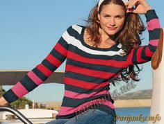 Пуловер в полоску (ж) 13*161 Bergere de France №2919