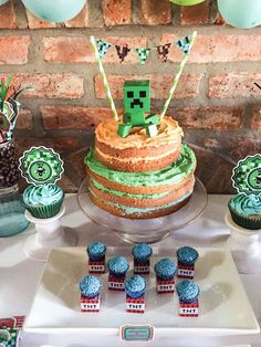 Layer cake from a Minecraft birthday party! See more party ideas at CatchMyParty.com!