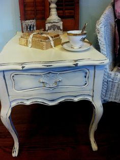 Distressed Shabby Chic Mersman End Table by SaundersDesign on Etsy, $67.00