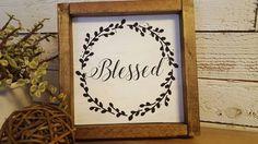 Blessed wood framed sign/decor by HomeofTreChic on Etsy https://www.etsy.com/listing/483733453/blessed-wood-framed-signdecor