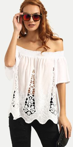 To find out about the White Boat Neck Hollow Asymmetrical Blouse at SHEIN, part of our latest Blouses ready to shop online today! Street Style Chic, Casual Dresses, Casual Outfits, Diy Clothes, Clothes For Women, Victoria Secret Outfits, Shoulder Shirts, Shoulder Tops, Cold Shoulder