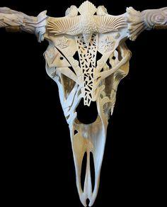 Yukon Seasons by Shane Wilson, in progress, centre phase 14 (carved moose antler and skull) Crane, Moose Skull, Skull Helmet, Antler Art, Skull Painting, Carving Designs, Human Skull, Bone Carving, Skull Design
