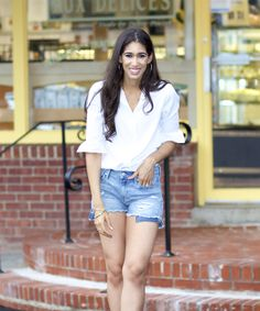 My Number One Closet Staple - The Style Contour | how to style a white button up shirt, white shirt outfit, basic summer outfit ideas, early fall outfit ideas, how to wear denim cut off shorts, what are staple pieces, basic pieces to own, basic pieces on sale