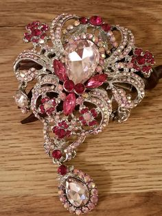 Large pink two tone silver tone hair clip/barrette
