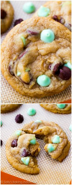 Mint Chocolate Chip Cookies-- a little cornstarch makes them extra soft. These are always a winner; everyone loves them.