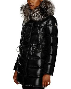 Moncler Aphrotiti Metallic Cinched Waist Down Coat