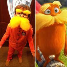 Looking for a creative Halloween costume for your kid? Check out these pop culture Halloween costumes. Some are DIY Halloween costumes and others take some skill, but they are all awesome! Lorax Costume, Dr Seuss Costumes, Book Character Costumes, Book Day Costumes, Book Week Costume, Family Costumes, Halloween Costumes For Kids, Costume Ideas, Diy Halloween