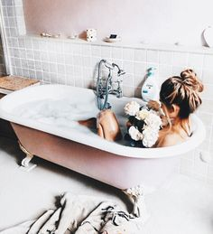 bath, girl, and flowers image