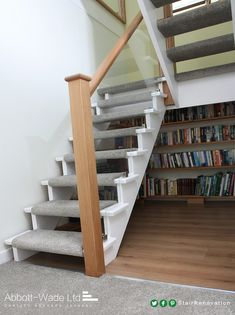 Open stairs carpet stairways 70 ideas for 2019 New Staircase, Staircase Remodel, Floating Staircase, Staircase Design, Staircase Ideas, Stair Design, Curved Staircase, Open Stairs, Loft Stairs