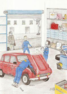 """-le garage- Illustration extraite des """"dernières aventures de Canélou""""  livre pour enfant publié aux Editions de l'Officine"""