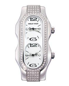 Philip Stein Mini Signature Double Diamond Watch Head, White Dial, Size 4, Women's