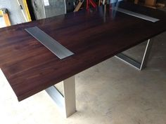 Custom Made Walnut And Stainless Steel Table For Glenn