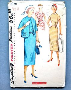 Vintage 1950s sewing pattern 1078 by Simplicity.  Bust 36 inches.
