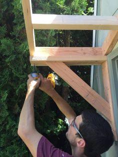How to Build a Gable Roof over a Front Door - Joyful Derivatives Front Door Overhang, Front Door Awning, Porch Awning, Diy Awning, Roof Overhang, Porch Roof, Front Door Decor, Window Awnings, Building A Door