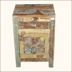 The Appalachian Rustic Distressed Teak Wood Bedside End Table is handmade from solid reclaimed teak wood.