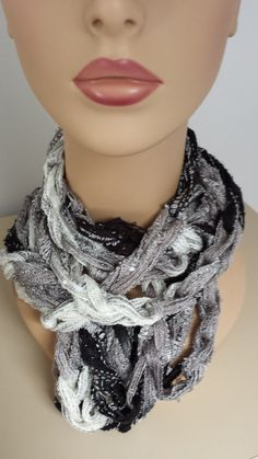 Crocheted chain scarf by softtotouch on Etsy, $15.00