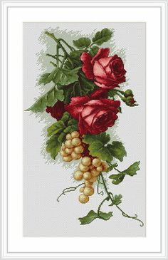 Cross stitch - flowers: Red roses and grapes (free pattern with chart)