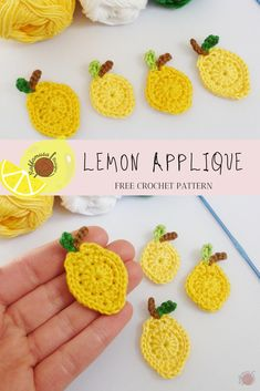 Crochet Lemon Applique - Free Pattern - - A fun crochet lemon applique pattern that comes in a small and large size. Crochet one to applique on your summer makes, kitchen decor, or anything yarn! Crochet Fruit, Crochet Food, Crochet Bunny, Love Crochet, Beautiful Crochet, Crochet Crafts, Easy Crochet, Crochet Flowers, Crochet Projects