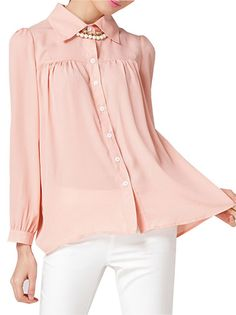 Fashion Pure Color Turn-Down Collar Long Sleeve Chiffon Blouse Pink on buytrends.com