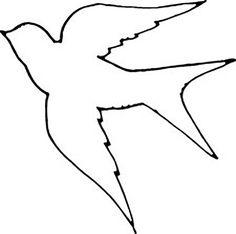 Раскраски Контуры птиц ласточка контур, птица шаблон для вырезания из бумаги