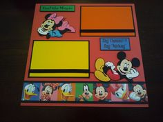 "NEW Disney Characters 2 Page 12""X12"" Scrapbook Layout W Mickey Minnie Goofy 