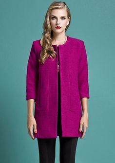 Purple Long Sleeve Pockets Woolen Coat