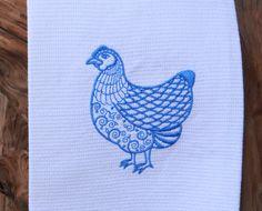 Fancy Hen Cotton Huck Kitchen Towel by TheBridesHopeChest on Etsy, $9.00