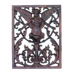 Gorgeous Gothic Style Iron Angel Cherub Wall Sculpture Decor,15.5''H. #Handmade #Gothic