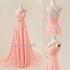 Charming light pink one-shoulder handmade sweep train prom dress, graduation dress, evening dress