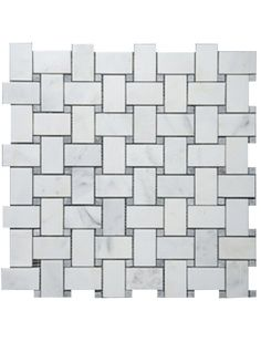1x2 Bianco White Carrara Marble Basketweave Polished With Grey Dot Mosaic Tile