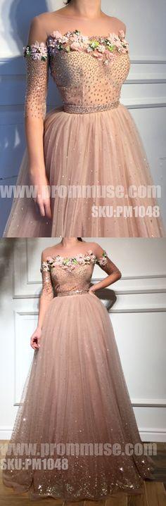 Charming Affordable Half Sleeves Applique Long Evening Prom Dresses, PM1048 #promdress #promdresses #longpromdress #longpromdresses #eveningdress