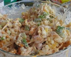 Frito Corn Salad from Food.com:   This recipe was given to me at a campout .  My friend made this for the potluck.  It was a hit all around.