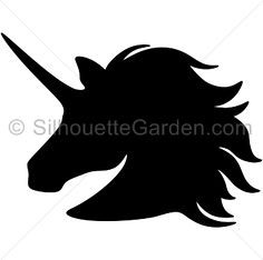 Unicorn head silhouette clip art. Download free versions of the image in EPS, JPG, PDF, PNG, and SVG formats at http://silhouettegarden.com/download/unicorn-head-silhouette/