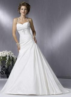 Beaded Taffeta A-line/Princess Halter Wedding Dress