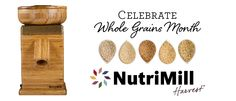 Celebrate Whole Grains Month! One winner will receive a NutriMill Harvest grain mill, valued at $349.99.  Open to U.S. Residents only. See Official Rules: http://www.boschkitchencenters.com/official-rules/
