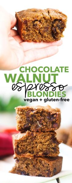 Chocolate Walnut Espresso Blondies (vegan + gluten-free)