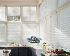 Transform the harsh quality of light into soft, radiant beauty with these Hunter Douglas Silhouettes. Block 88% of ultraviolet light when tilted open and block 99% when tilted closed!