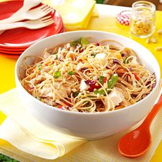 Sesame Chicken Noodle Salad----I'd skip the oranges and use water chestnuts and bean sprouts for crunch---from Taste of Home, Ree Drummond, --and Jess Apfe, Berkeley, California Potluck Dishes, Potluck Recipes, Pasta Dishes, Dinner Recipes, Cooking Recipes, Cooking Ideas, Dessert Recipes, Desserts, Chicken Noodle Salad Recipe