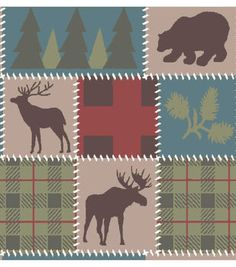 Snuggle Flannel Fabric 42''-Deer Lodge Patch